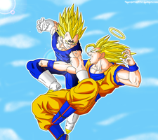 Goku vs. Majin Vegeta Colored by JamalC157