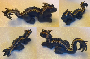 Glitter Black and Gold Oriental Dragon by Alexandrite-Dragons