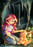 Sunset finds a charmander by Daughter-of-Fantasy