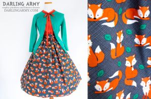 Foxy Lady Vintage Inspired Tea Length Skirt by DarlingArmy