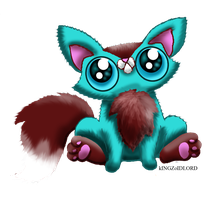 Funny cat adoptable fluffy turquoise fox by KingZoidLord