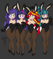 (Sketch Colour) The Bunnies of Canterlot by Ponyguy67