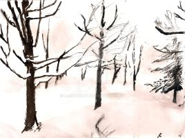 Snowy Day- Ink by a-ka-neArt