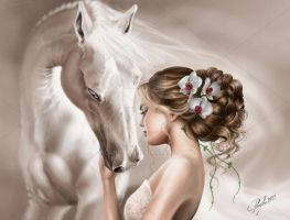 White Magic - Lady and Horse by candybg