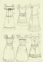 6 dresses scetch by Mortifiera