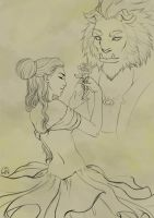 Beauty and the Beast-Lineart by Wictorian-Art