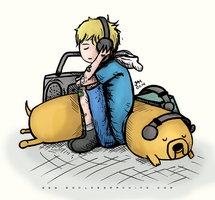 Headphones iv  (with Finn and Jake) by godlessmachine