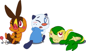 Unova Starters by wallaroo42