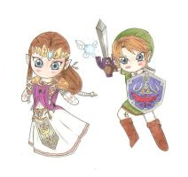 Chibi Zelda and Link by Cloudyh