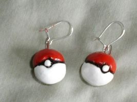 Pokeball earrings by Whitey594