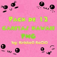 Pack de 12 Caritas Kawaii PNG by RoohEditions