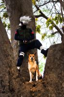 Kakashi and the dog by O-MOCHI-PRO