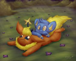 TPP Flareon Shinx Within the Forest by CyberPikachu