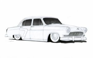 1958 GAZ Volga Custom Sedan Hot Rod Drawing by Vertualissimo