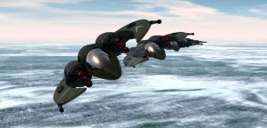 Scarab fighter formation by sixgun-fighter