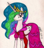 Princess Celestia in a dress by newyorkx3