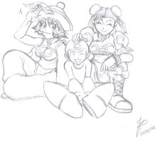 Lei Lei, Rock and Chun Li by Ian-the-Hedgehog