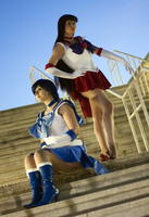 Sailor Mars and Sailor Mercury by ExileFayt