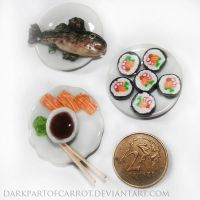 First Polymer Clay Sushi by DarkPartOfCarrot