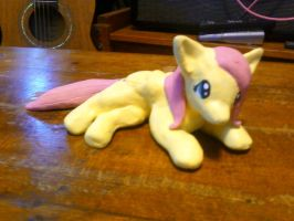 Laying Fluttershy Sculpture by Leeliothestica