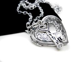 Silver Heart Locket Necklace by pila12903