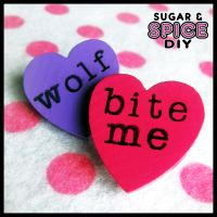HARD CANDY Werewolf Life Handmade Pin Brooch Set by SugarAndSpiceDIY