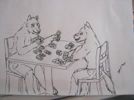 wolves playing cards by jmillart