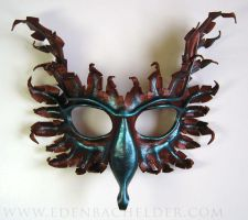 Gryphon leather mask in oxidized antique copper by shmeeden