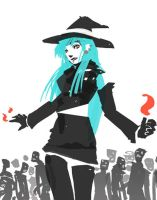 Blue Haired Fire Witch by seandunkley