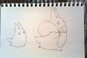 Chibi and Chu Totoro sketch by Shlii