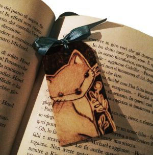 Wooden bookmark Kawaii fox by ChibiPyro