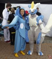 White Kyurem and Piplup cosplay