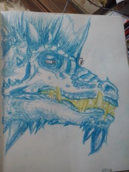 Dragon Head in Crayon by Pamelaiswise