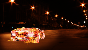 Aventador burning through the night by stipsan