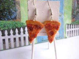 Pepperoni Pizza Earrings by LittleSweetDreams