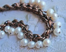 Pearls on Vintage Copper by dbvictoria
