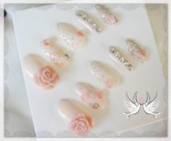 PINK WEDDING SOFT LOVE NAIL SET by jadelushdesigns