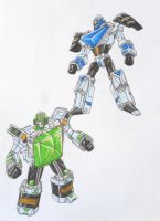 SUPER ZEO MEGAZORD revisited: blue and green by kishiaku