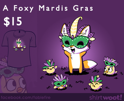 Woot Shirt - A Foxy Mardis Gras by fablefire