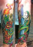 neo Traditional snake and dagger by TommyPhillips