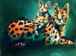 Split complementary servals by KittyNamedAlly