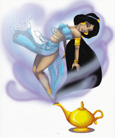 Jasmine as a genie by Hugelcompagnie