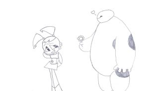 Jenny and Baymax (Uncolored Version) by WinterMoon95