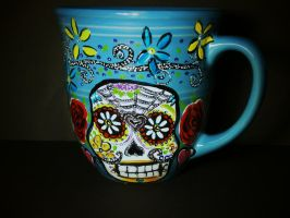 Sugar Skull Mug (for sale) by InkyDreamz