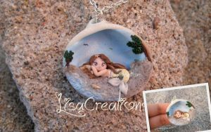 Little yellow mermaid in a shell by LisaCreations by LisaCreations