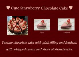 Cute Strawberry Chocolate Cake by me0w-kittyy