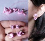 Mew earrings from Pokemon by LayzeMichelle