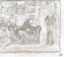 Sherlock and John Caught Making Out In Kitty's Apt by ThumbsInTheFridge