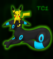 Umbreon and Pikachu by slycooper998