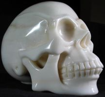 White Jade Stone Skull 001a by SKULLKRAFT